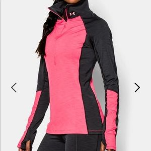 Women's UA ColdGear cozy 1/2 zip-Large, pink/black